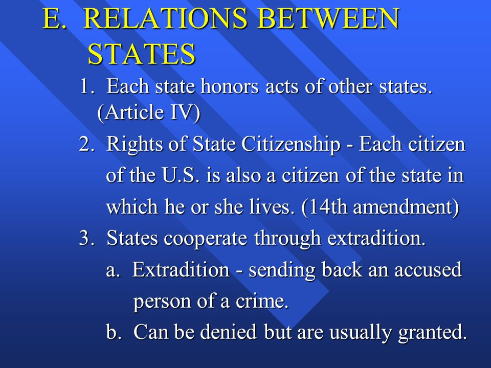 E. RELATIONS BETWEEN STATES