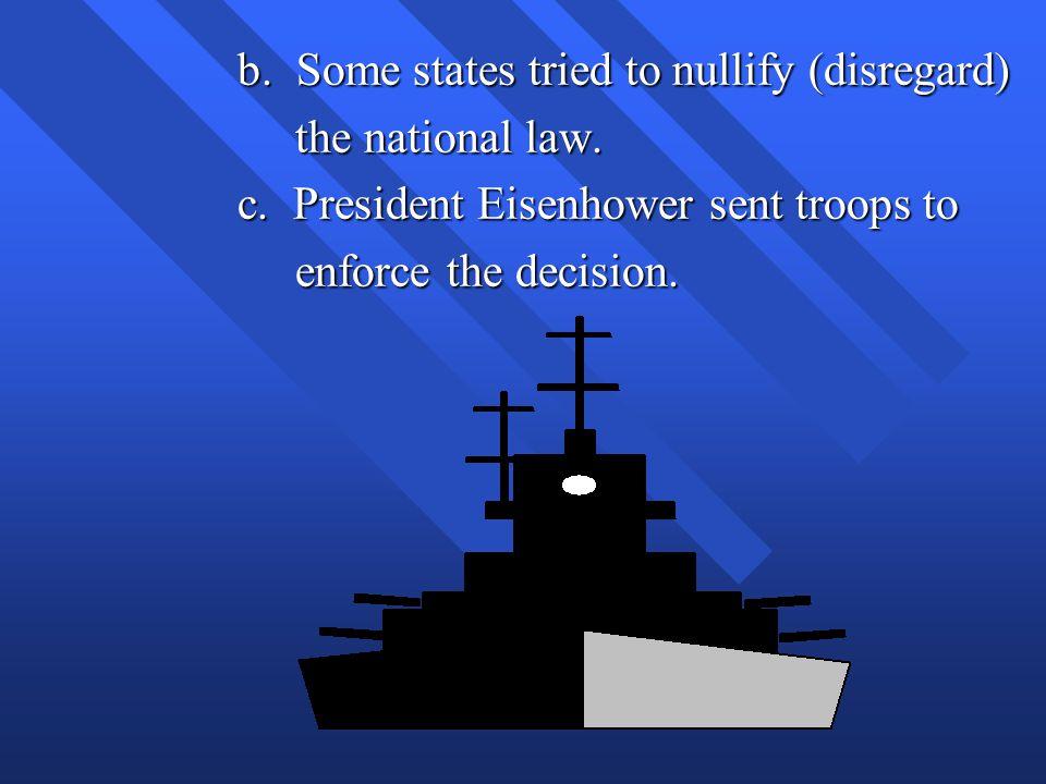 b. Some states tried to nullify (disregard)