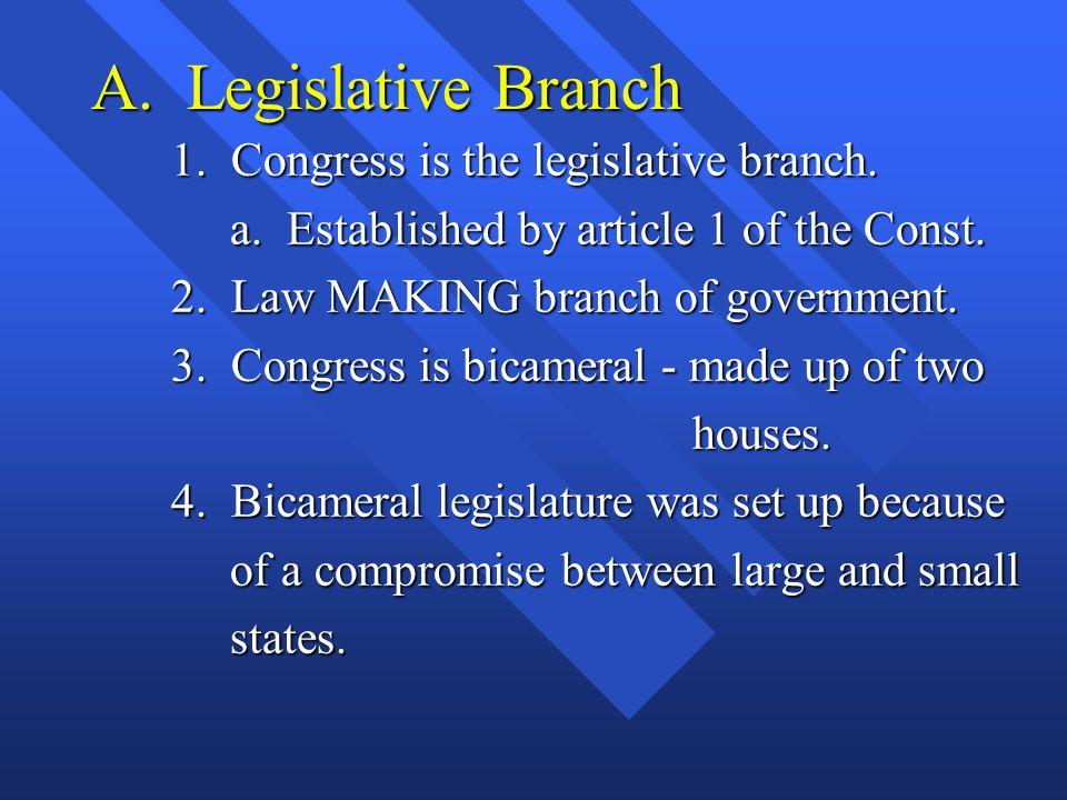 A. Legislative Branch 1. Congress is the legislative branch.