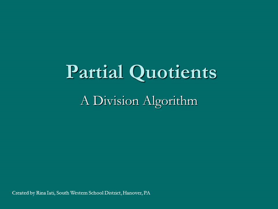Partial Quotients A Division Algorithm