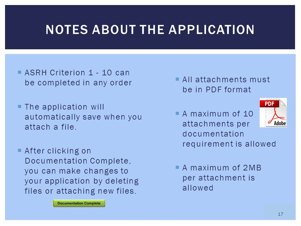 Notes about the application