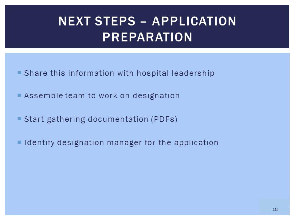 Next steps – application preparation