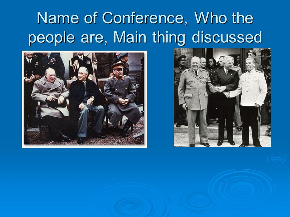 Name of Conference, Who the people are, Main thing discussed