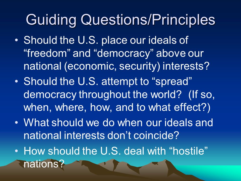 Guiding Questions/Principles