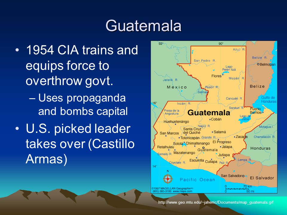 Guatemala 1954 CIA trains and equips force to overthrow govt.