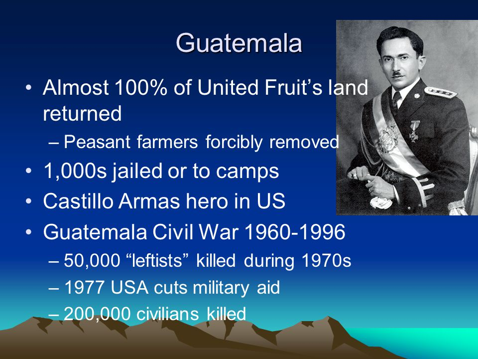 Guatemala Almost 100% of United Fruit's land returned