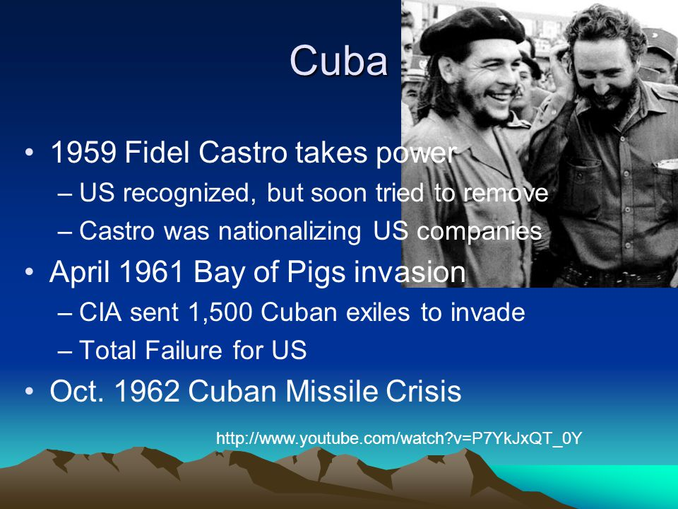 Cuba 1959 Fidel Castro takes power April 1961 Bay of Pigs invasion