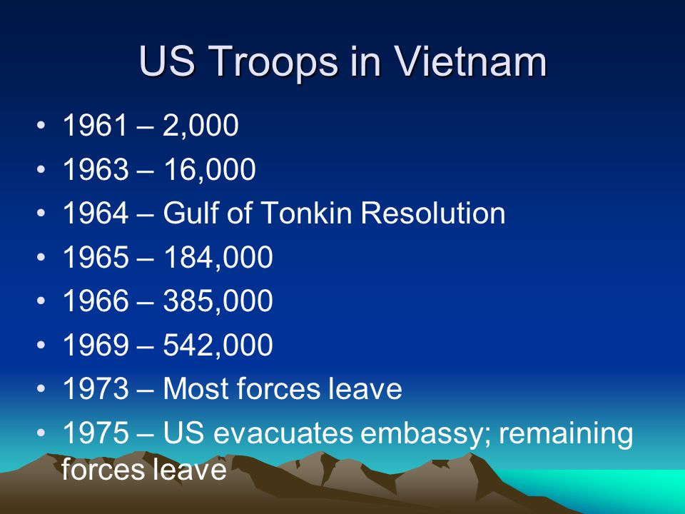 US Troops in Vietnam 1961 – 2,000. 1963 – 16,000. 1964 – Gulf of Tonkin Resolution. 1965 – 184,000.