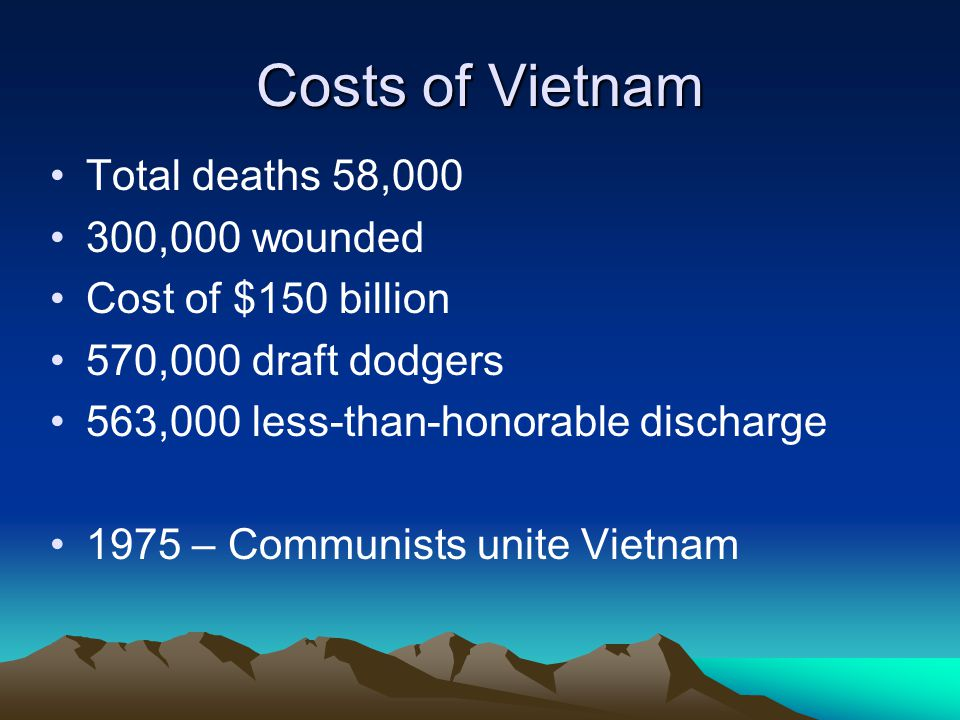 Costs of Vietnam Total deaths 58,000 300,000 wounded