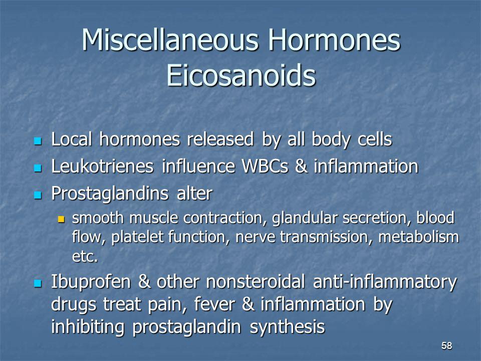 Miscellaneous Hormones Eicosanoids