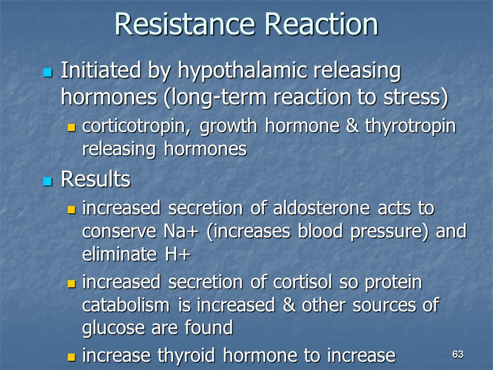 Resistance Reaction Initiated by hypothalamic releasing hormones (long-term reaction to stress)