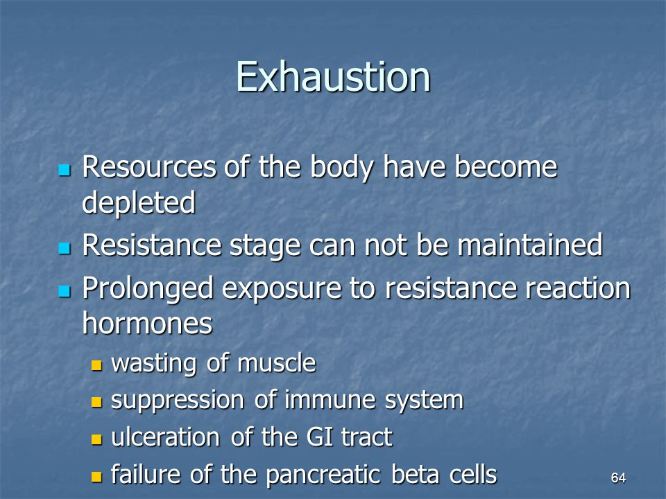 Exhaustion Resources of the body have become depleted