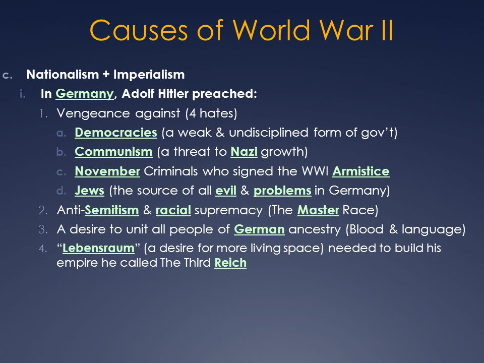 Causes of World War II Nationalism + Imperialism