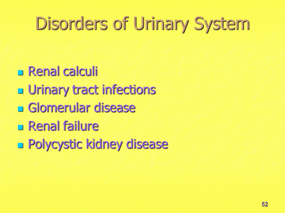 Disorders of Urinary System
