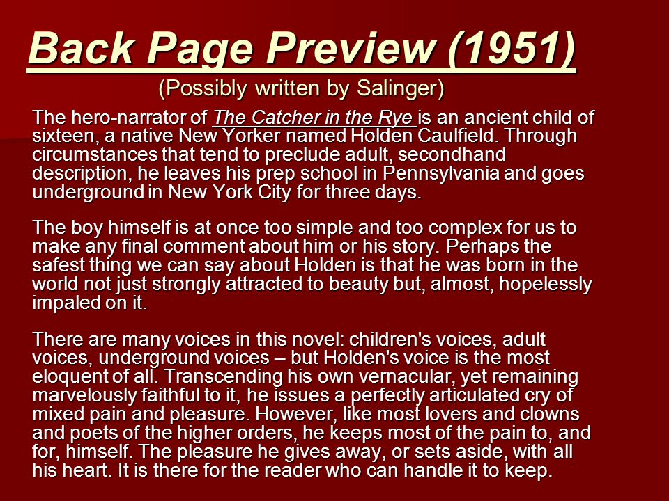 Back Page Preview (1951) (Possibly written by Salinger)