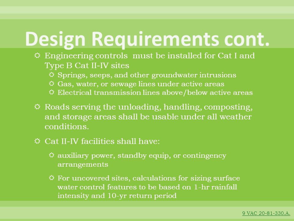 Design Requirements cont.