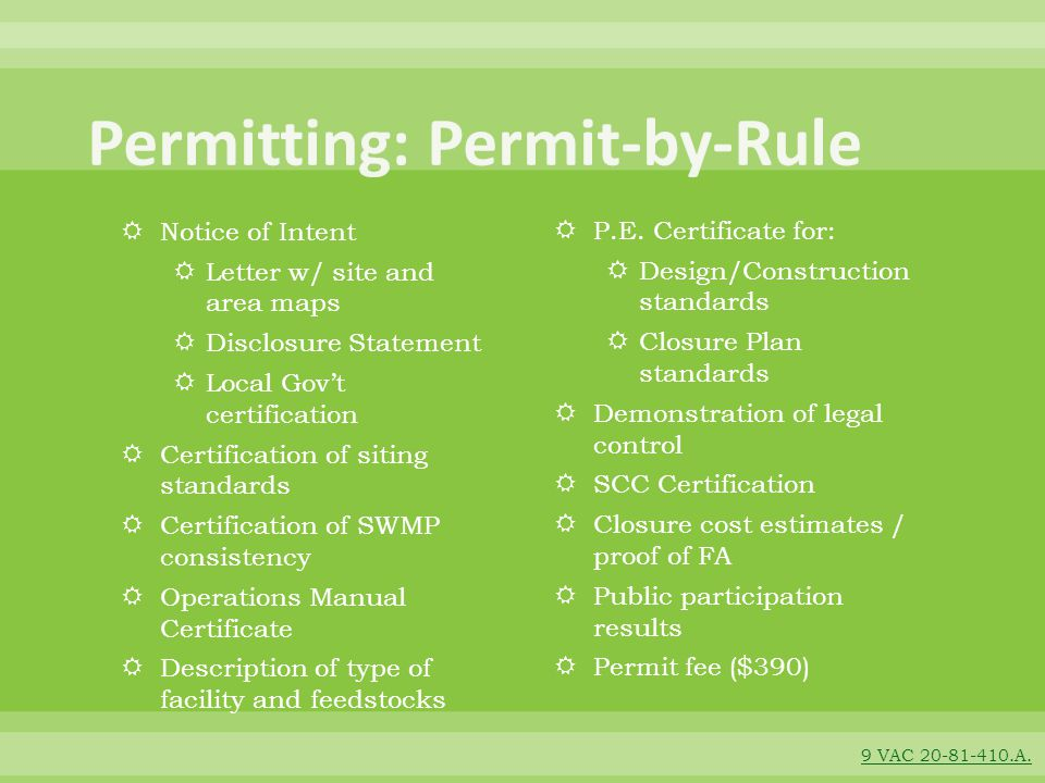 Permitting: Permit-by-Rule
