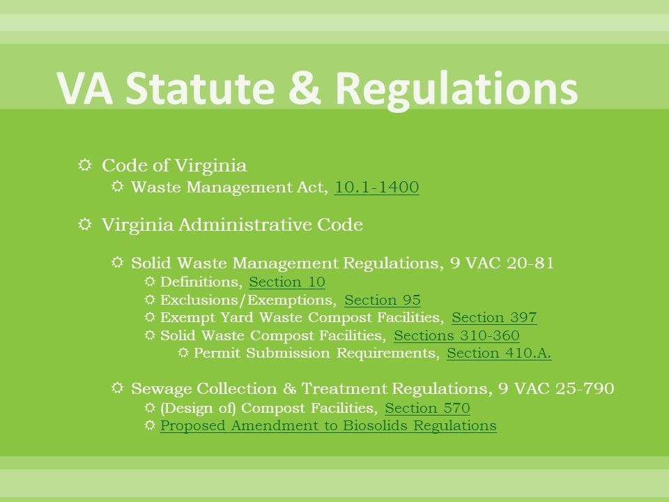 VA Statute & Regulations