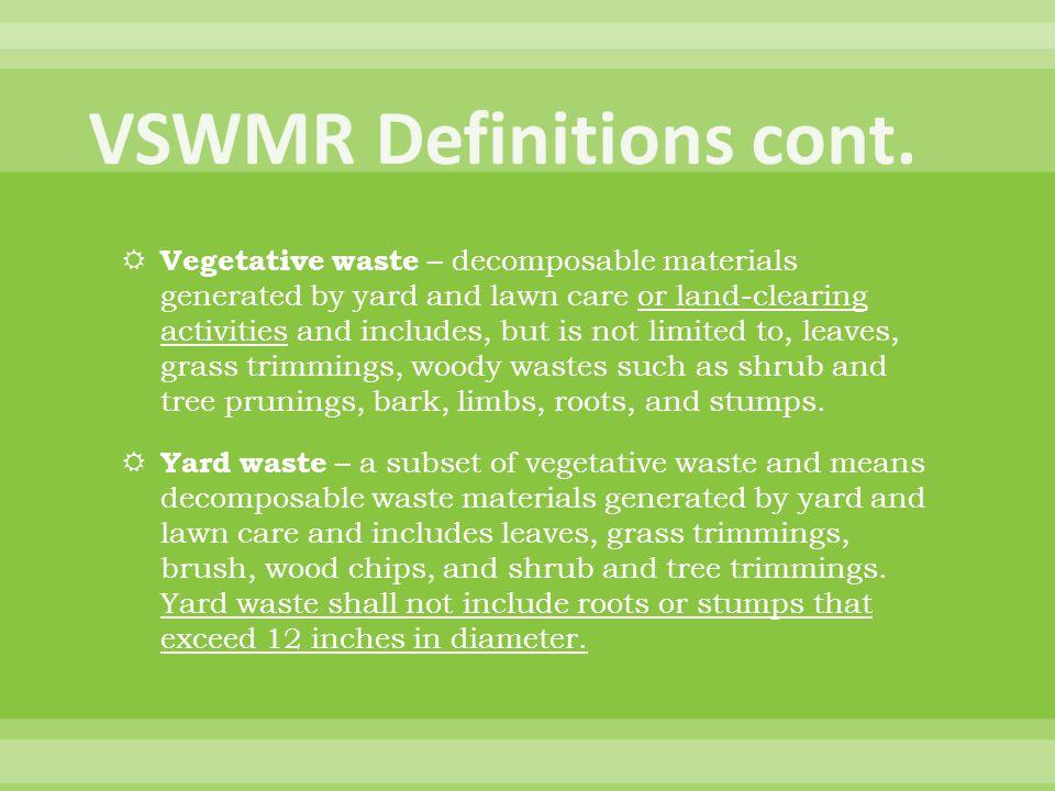 VSWMR Definitions cont.