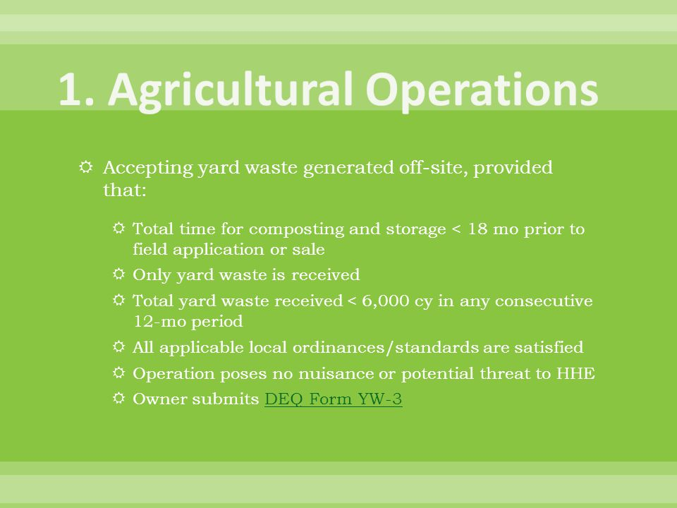 1. Agricultural Operations