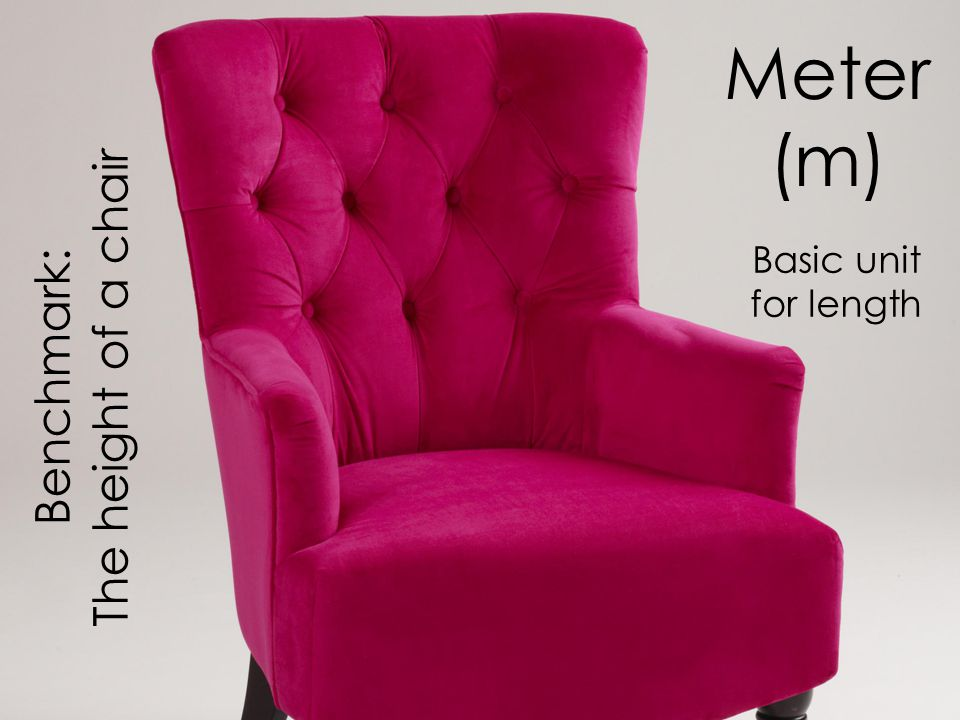 Meter (m) Meter Basic unit for length The height of a chair Benchmark: