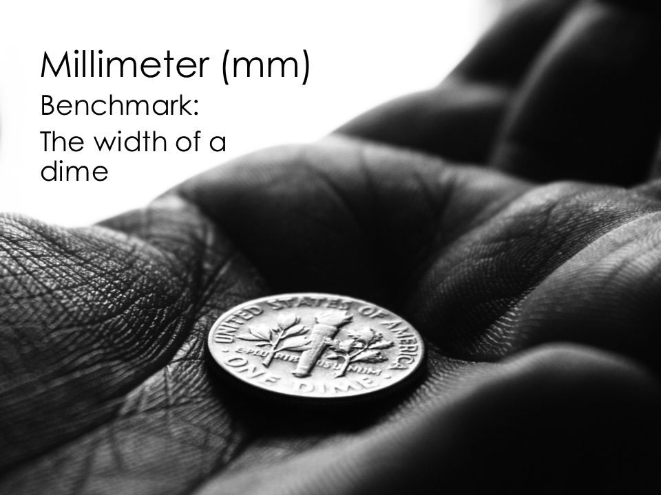 Millimeter (mm) Benchmark: The width of a dime