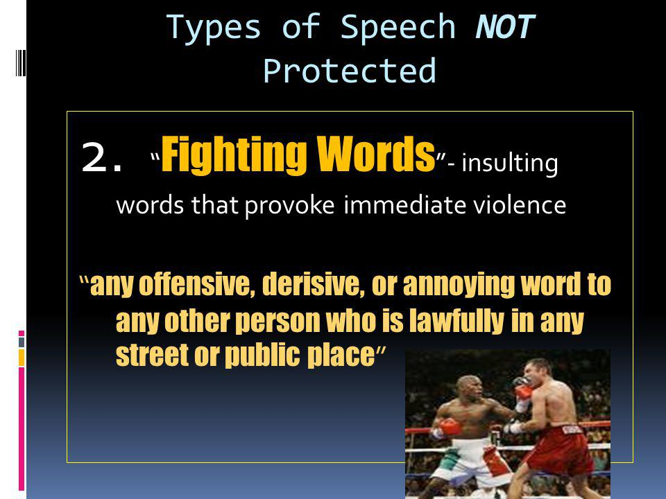 Types of Speech NOT Protected
