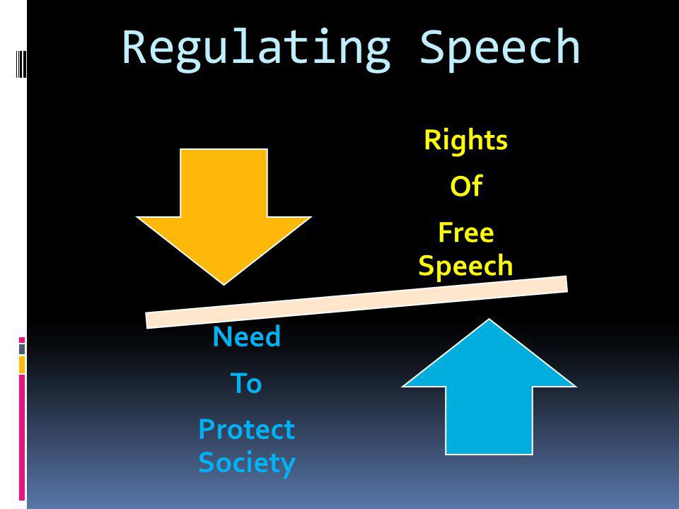 Regulating Speech Rights Of Free Speech Need To Protect Society
