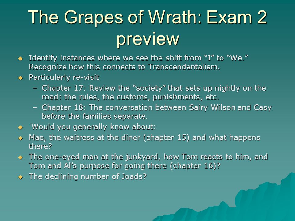 grapes of wrath plot questions Immediately download the the grapes of wrath 180 multiple choice questions plot: steinbeck's the grapes of wrath is the story of the joad family from.