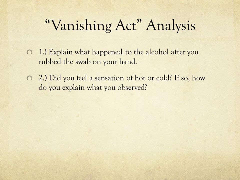 Vanishing Act Analysis