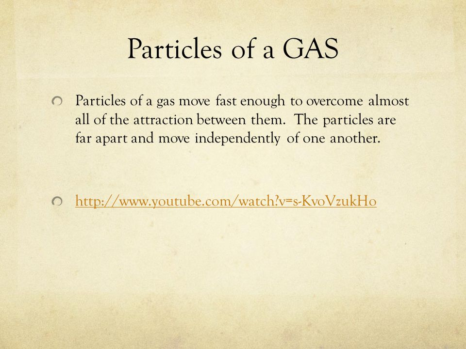 Particles of a GAS