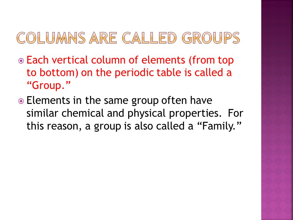Columns are Called Groups