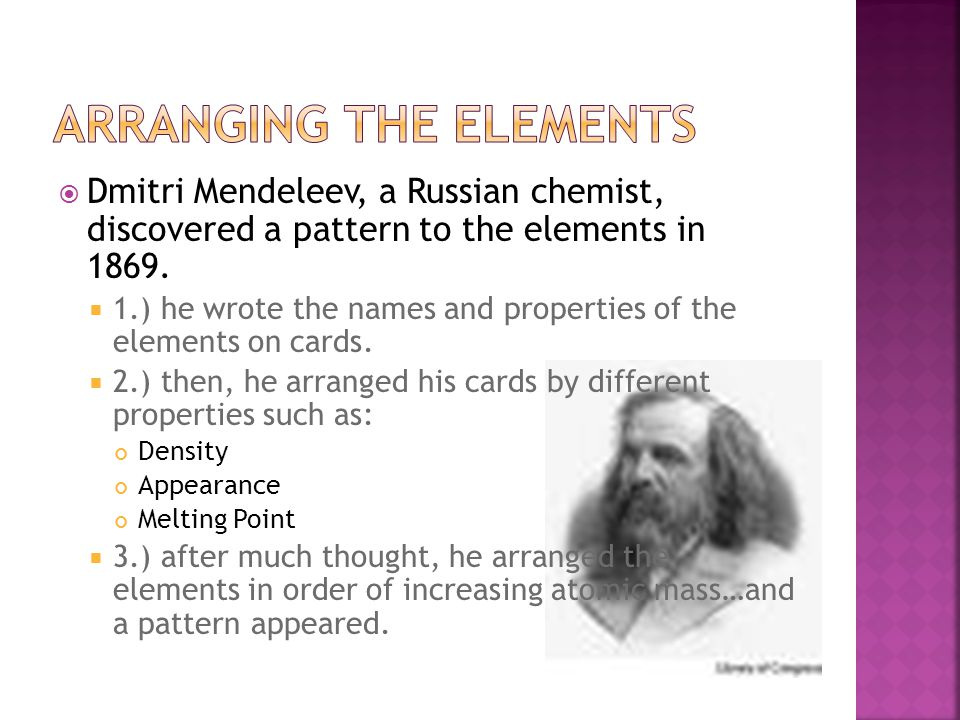 Arranging the Elements