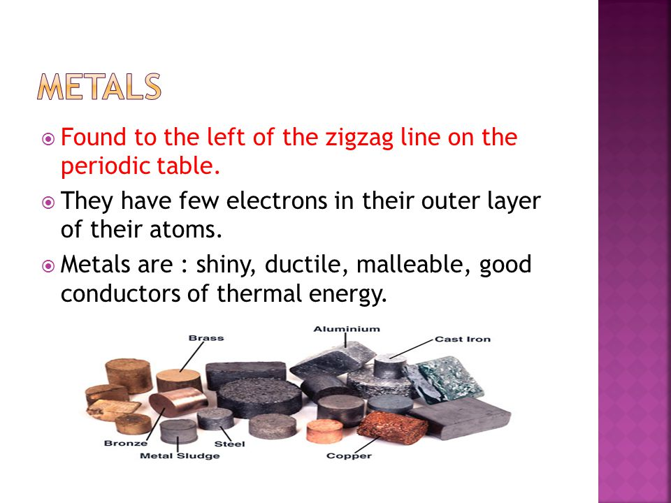 Metals Found to the left of the zigzag line on the periodic table.