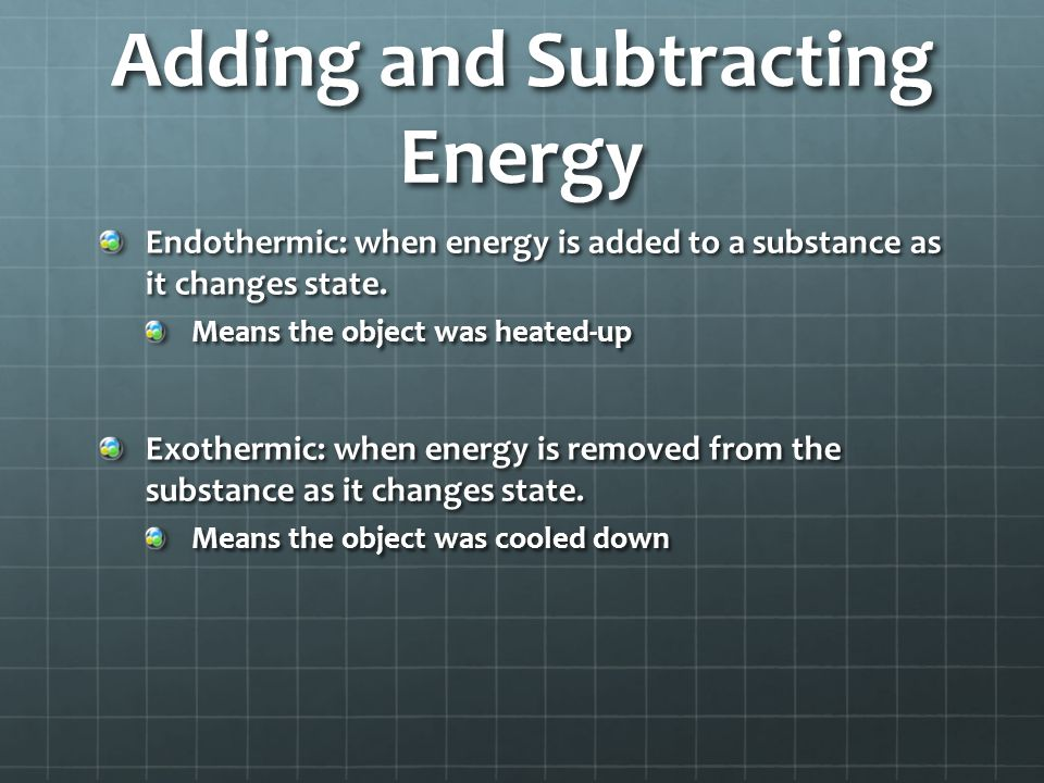 Adding and Subtracting Energy