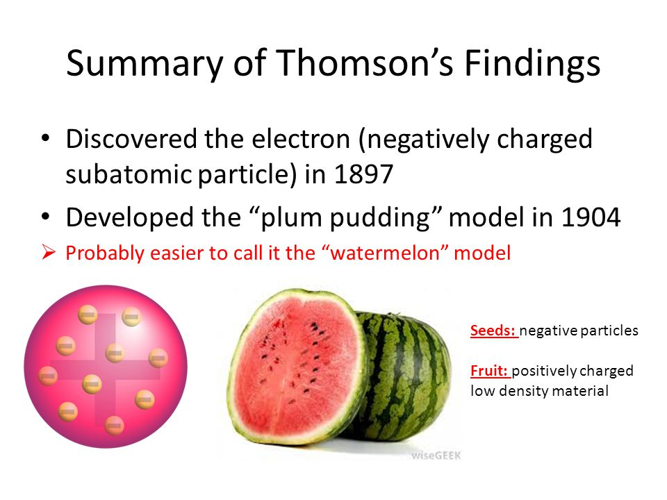 Summary of Thomson's Findings