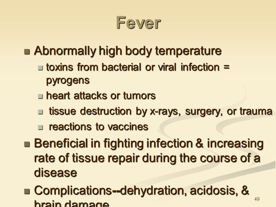 Fever Abnormally high body temperature