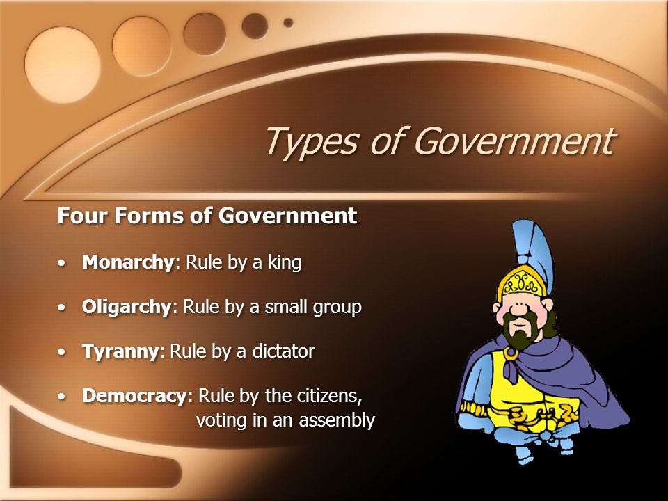 Types of Government Four Forms of Government Monarchy: Rule by a king
