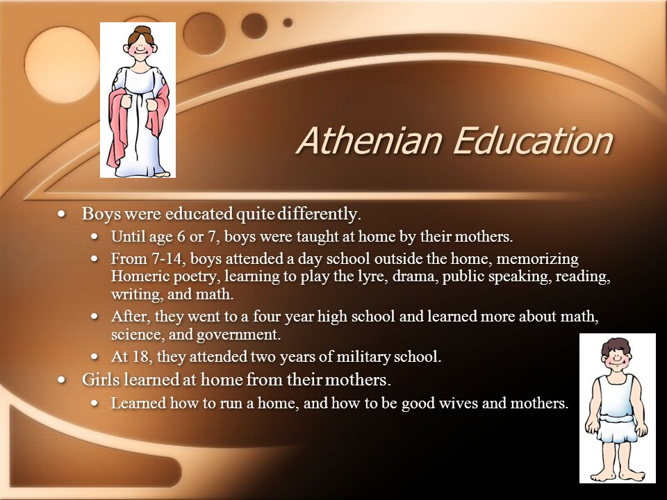 Athenian Education Boys were educated quite differently.