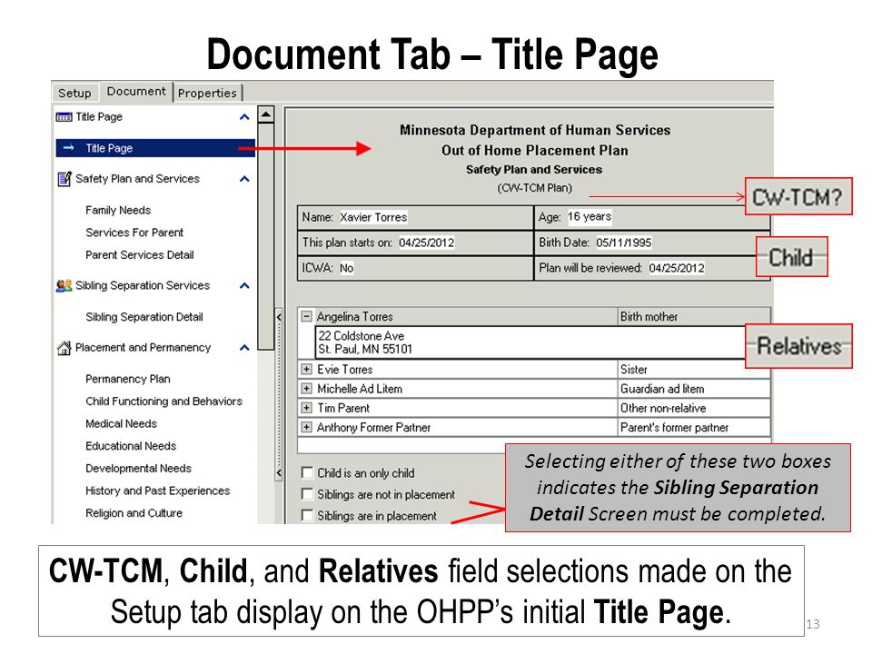 Document Tab – Title Page