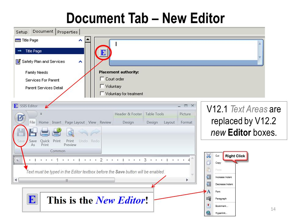 Document Tab – New Editor