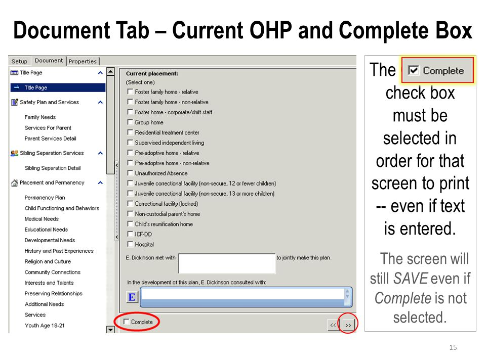 Document Tab – Current OHP and Complete Box