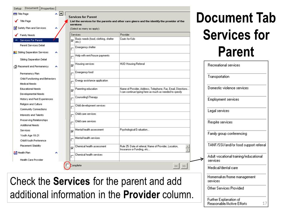 Document Tab Services for Parent