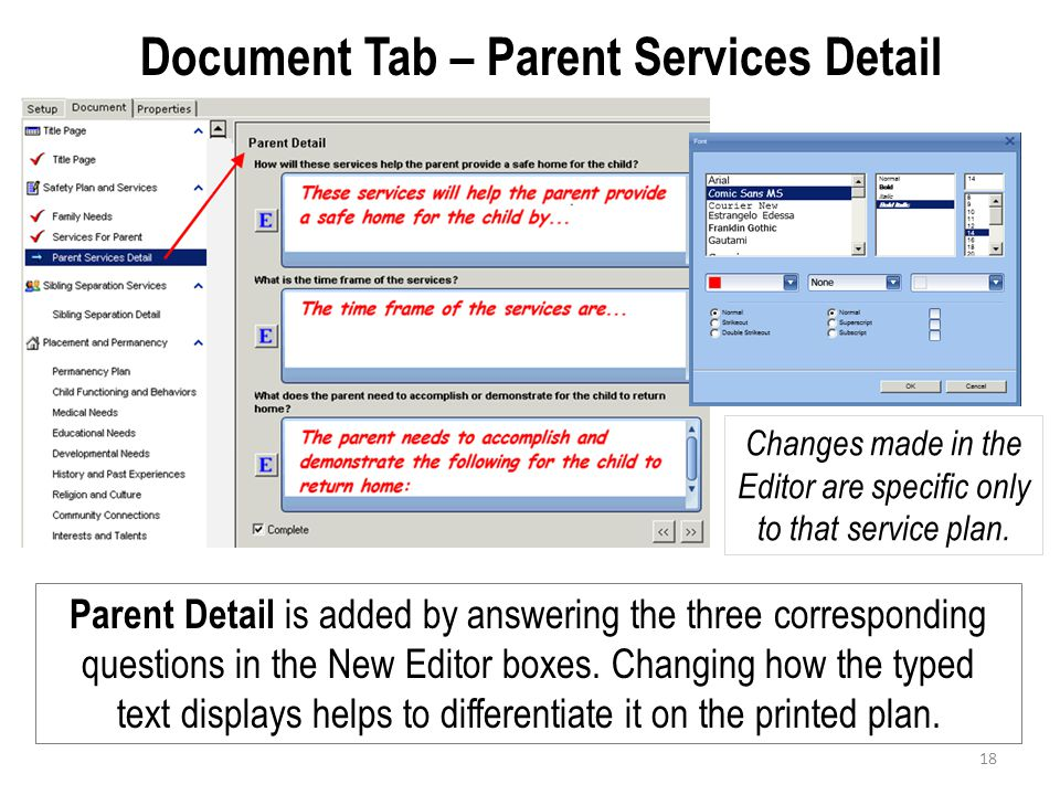 Document Tab – Parent Services Detail