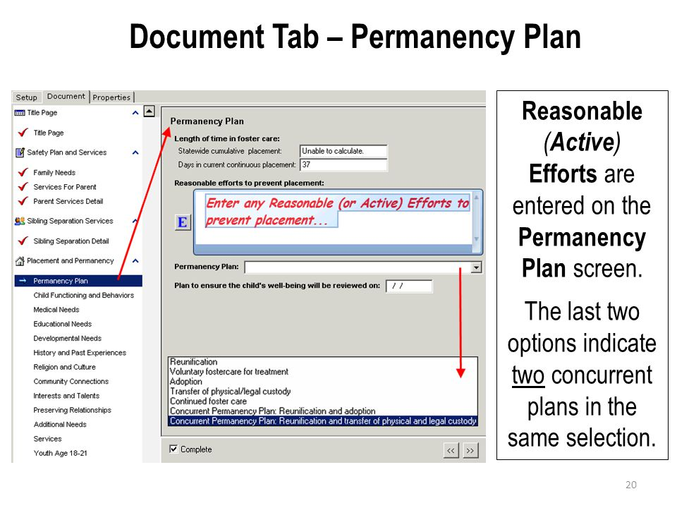 Document Tab – Permanency Plan