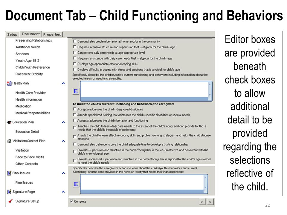 Document Tab – Child Functioning and Behaviors