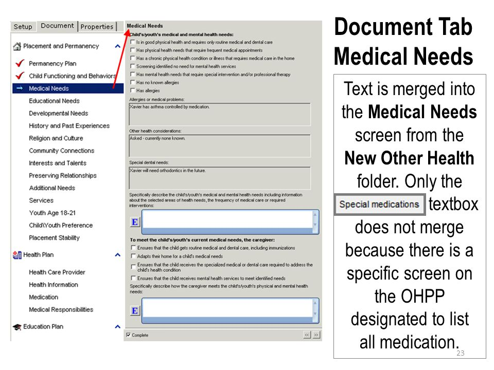 Document Tab Medical Needs