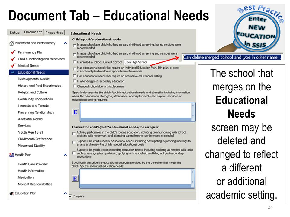 Document Tab – Educational Needs