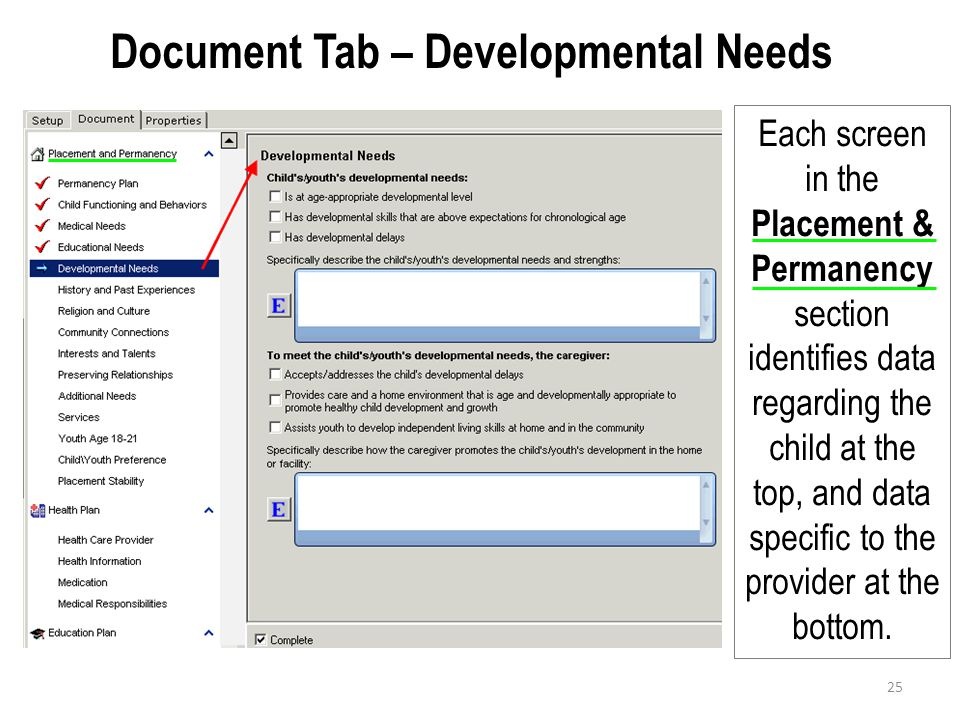 Document Tab – Developmental Needs