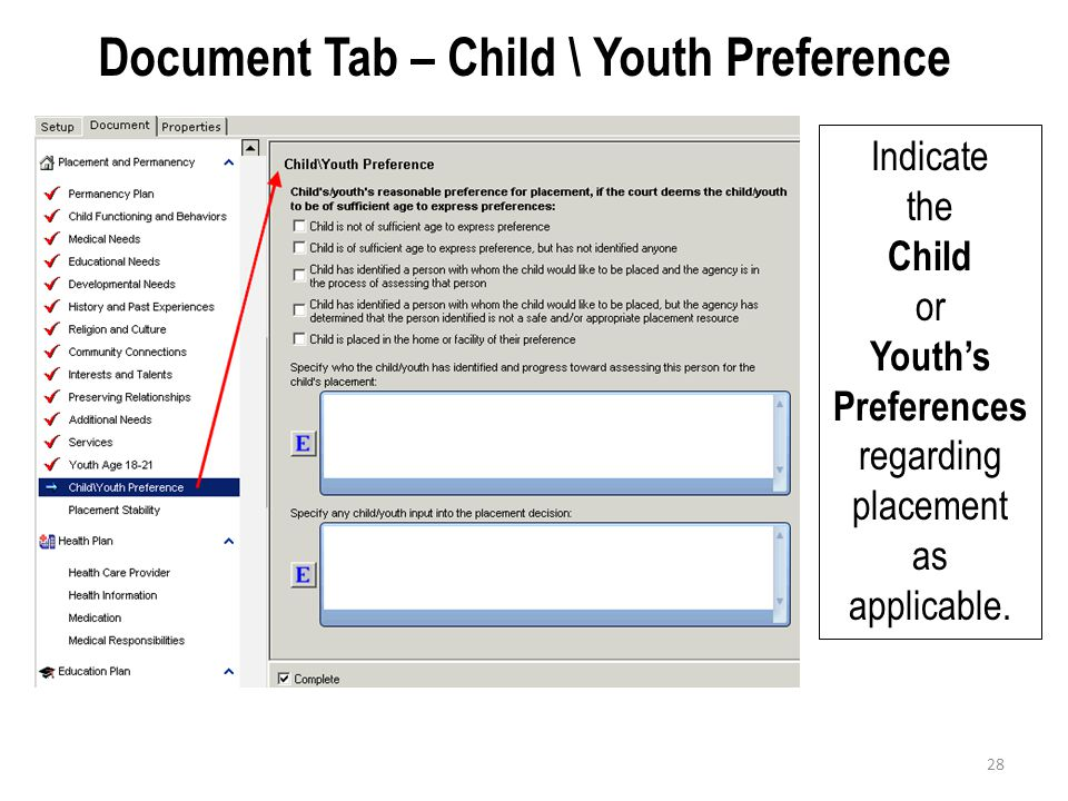 Document Tab – Child \ Youth Preference